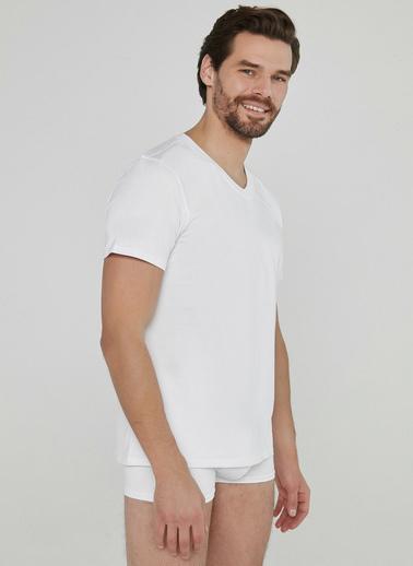 Penti Optik Beyaz Basic V Yaka Regular 2Li Tşört Beyaz